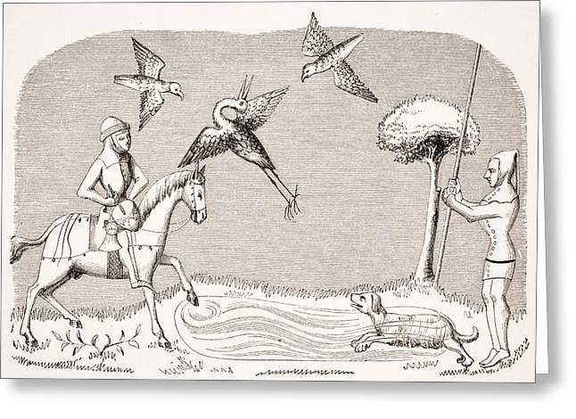 Apparel Greeting Cards - Heron Hawking. 19th Century Greeting Card by Vintage Design Pics