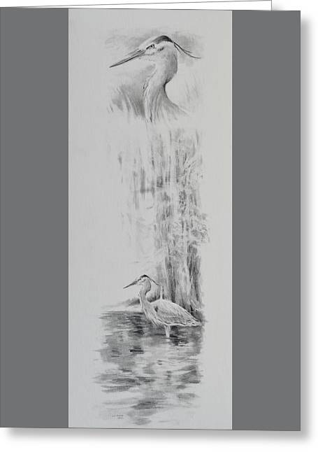 Depression Drawings Greeting Cards - Heron Greeting Card by Jim Young