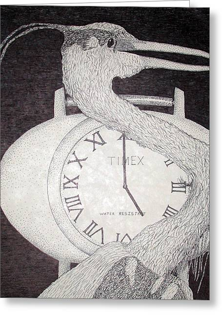 Large Clock Greeting Cards - Heron Time Greeting Card by Shane Bechler