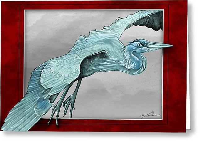 Heron Drawings Greeting Cards - Heron Window of Opportunity Greeting Card by Jim Turner