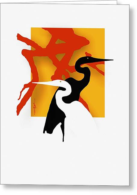 Egret Greeting Cards - Herons  Greeting Card by Bob Salo