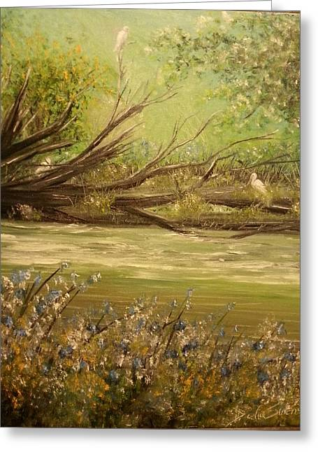 Spring Floods Paintings Greeting Cards - Herons Perch Greeting Card by Delia Birnhak Swenson