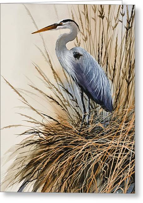 Heron Greeting Card Greeting Cards - Herons Solitude Greeting Card by James Williamson