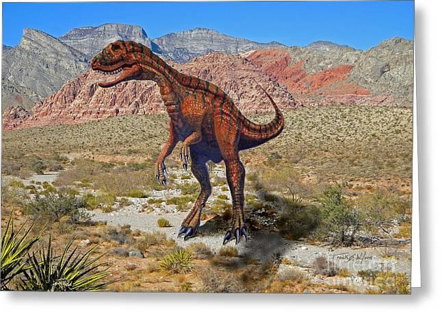 Herrarsaurus In Desert Greeting Card by Frank Wilson