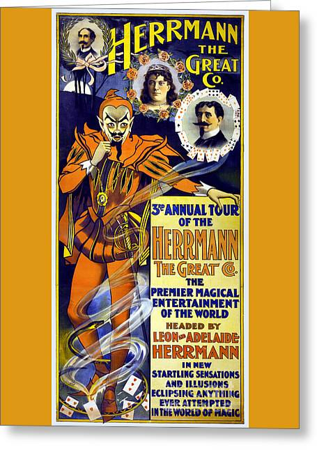 The Seer Greeting Cards - Herrmann the Great 1898 Vintage Poster Restored Greeting Card by Carsten Reisinger