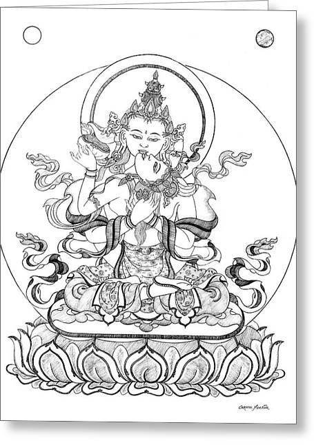 Thangka Greeting Cards - Heruka-Vajrasattva -Buddha of Purification Greeting Card by Carmen Mensink