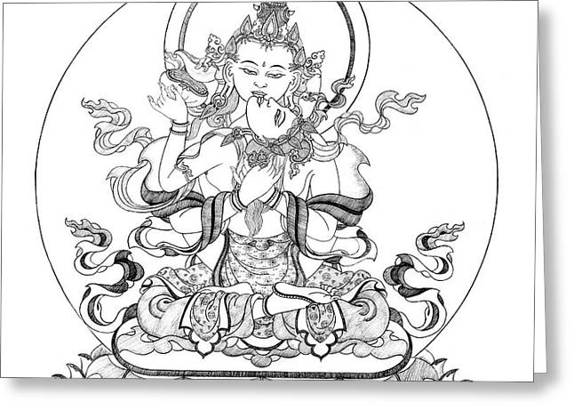 Heruka-Vajrasattva -Buddha of Purification Greeting Card by Carmen Mensink