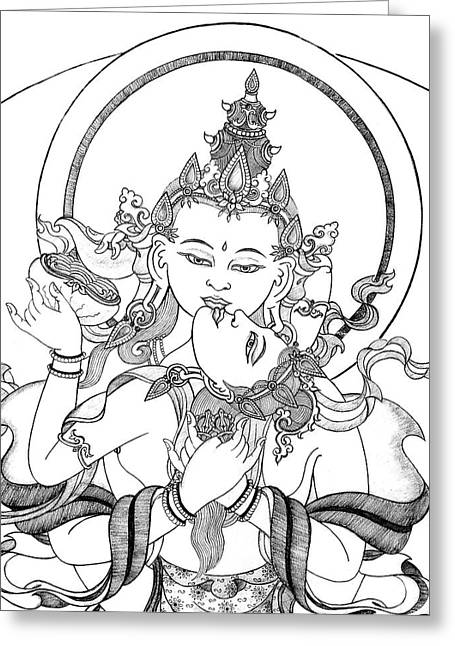 Bodhisatva Greeting Cards - Heruka Vajrasattva Close-Up Greeting Card by Carmen Mensink