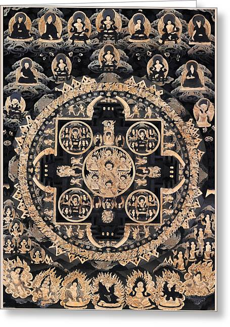 Siddharta Greeting Cards - Heruka Yab Yum Mandala Greeting Card by Lanjee Chee