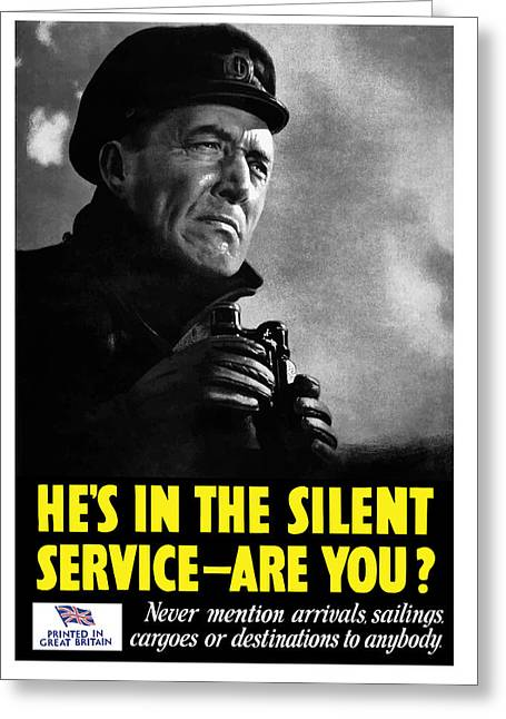 Second Greeting Cards - Hes In The Silent Service - Are You Greeting Card by War Is Hell Store