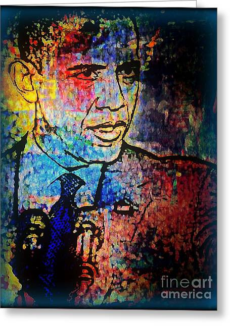 Obama Portrait Mixed Media Greeting Cards - Hes Still The One  Greeting Card by Wbk