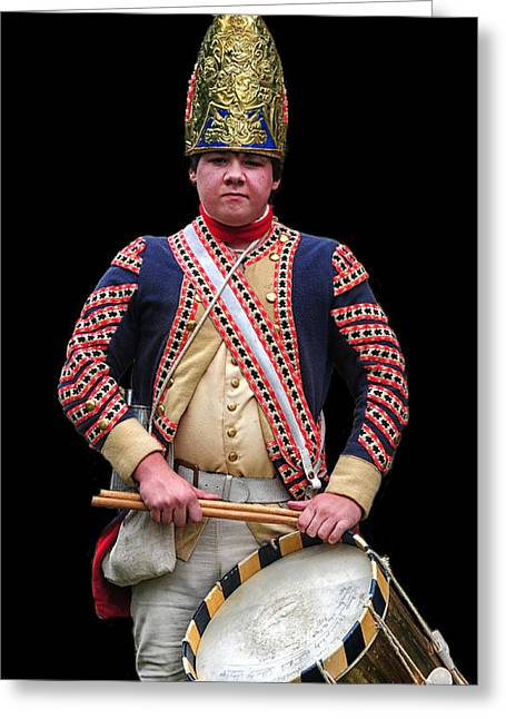 American Independance Greeting Cards - Hessian Grenadier Drummer Greeting Card by Dave Mills