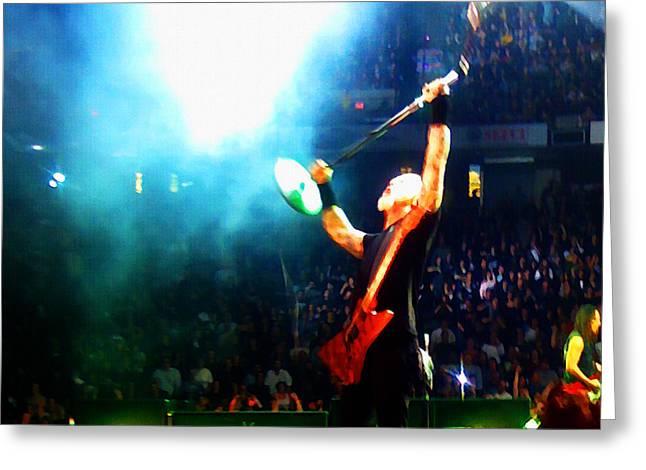 Metallica Mixed Media Greeting Cards - Hetfield of Metallica Greeting Card by Jeff Stein