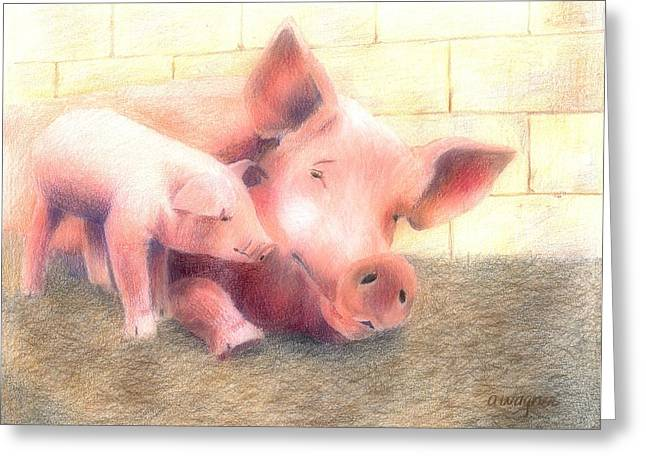 Pigs Pastels Greeting Cards - Hey Mom...Are You Awake Greeting Card by Arline Wagner