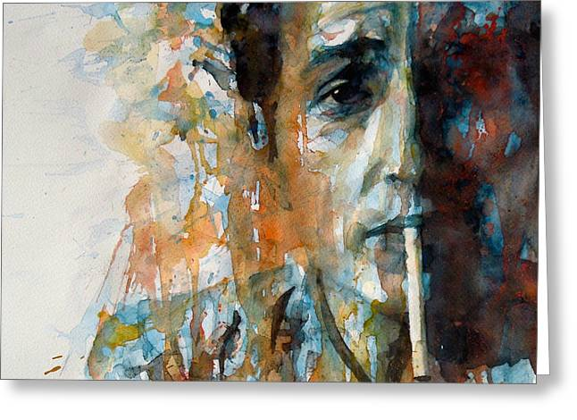 Pop Singer Greeting Cards - Hey Mr Tambourine Man @ Full Composition Greeting Card by Paul Lovering