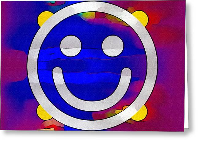 Enhanced Greeting Cards - Hey There Smiley Greeting Card by Caroline Gilmore