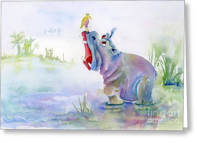 Hippos Greeting Cards - Hey Whats the Big Idea Greeting Card by Amy Kirkpatrick