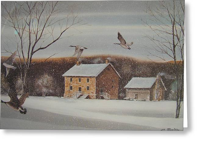 Mecklenberg County Greeting Cards - Hezakeiah Alexander House Winter Greeting Card by Charles Roy Smith