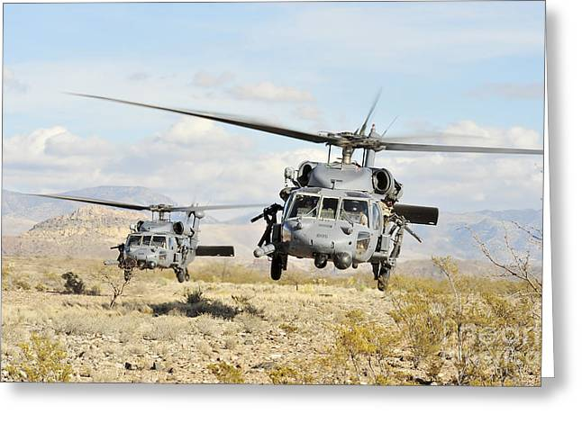 Hovering Greeting Cards - Hh-60g Pave Hawk Helicopters Land Greeting Card by Stocktrek Images