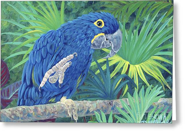 Danielle Perry Paintings Greeting Cards - Hi Blue Greeting Card by Danielle  Perry