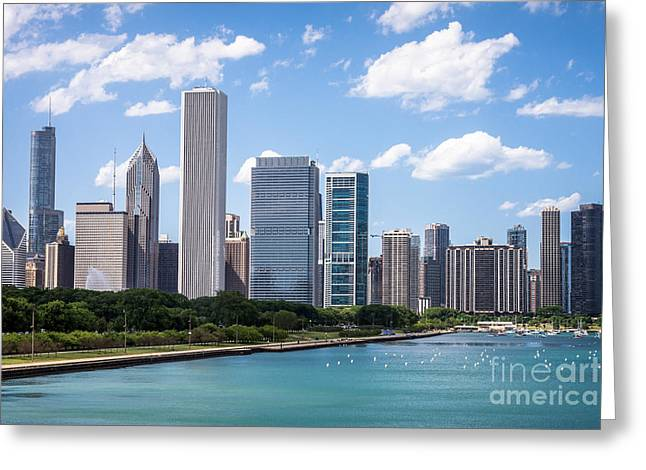 Stone Buildings Greeting Cards - Hi-Res Picture of Chicago Skyline and Lake Michigan Greeting Card by Paul Velgos