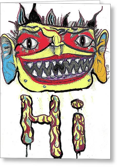 Raw Contemporary Graffiti Greeting Cards - Hi Greeting Card by Robert Wolverton Jr