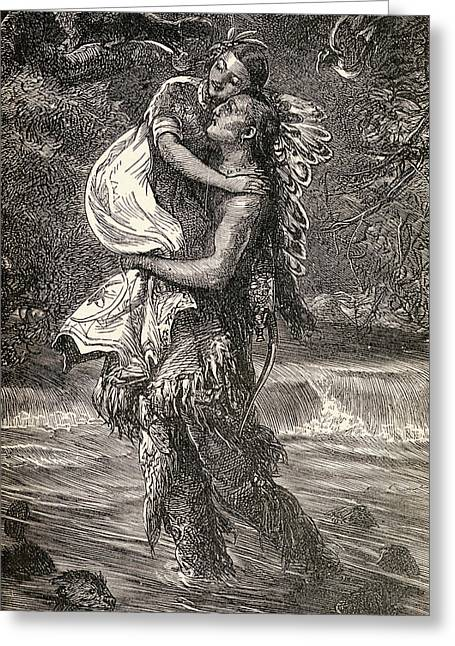 Native American Illustration Greeting Cards - Hiawatha and Minnehaha Greeting Card by Unknown