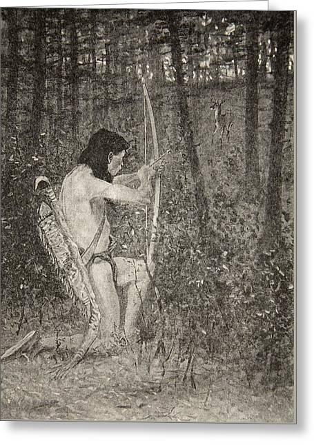 Hiawatha Greeting Card by Frederic Remington
