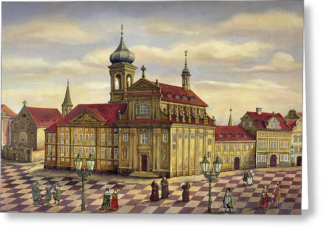 Prague Paintings Greeting Cards - Hibernian college in Prague Greeting Card by Victoria Francisco