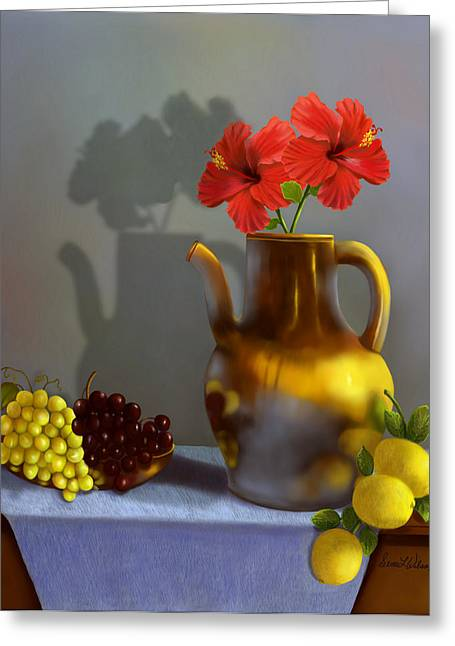 Pottery Pitcher Digital Greeting Cards - Hibiscus and Friends Greeting Card by Sena Wilson