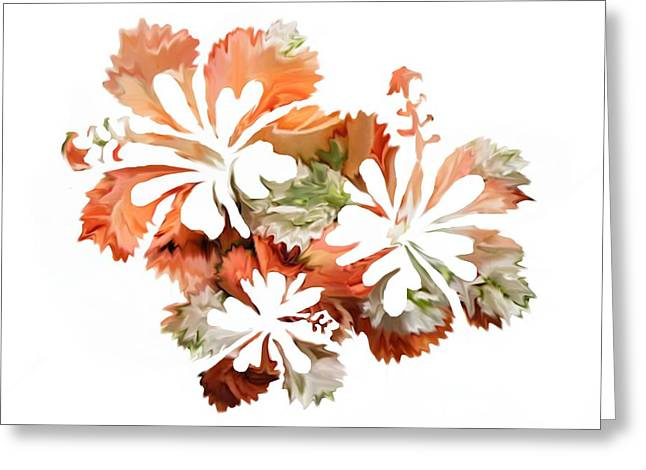 Hand Drawn Greeting Cards - Hibiscus Flowers Greeting Card by Sheela Ajith