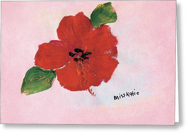 Medium Pink Greeting Cards - Hibiscus Greeting Card by Katie OBrien - Printscapes