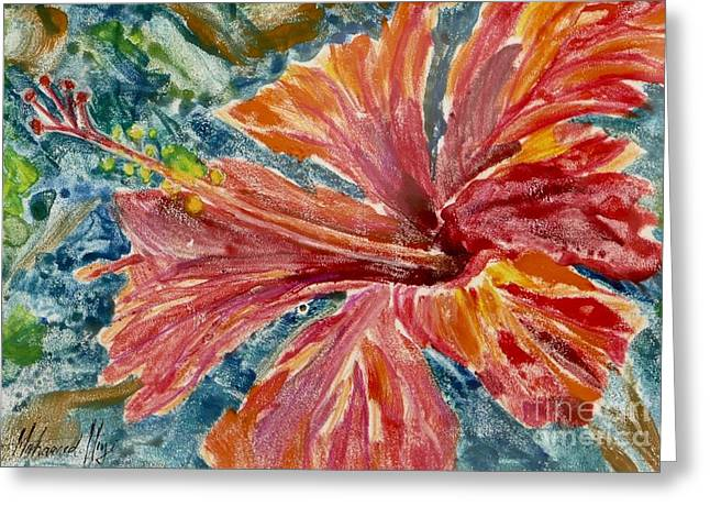 Hibiscus Greeting Card by Mohamed Hirji