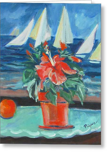 Hibiscus With An Orange And Sails For Breakfast Greeting Card by Betty Pieper