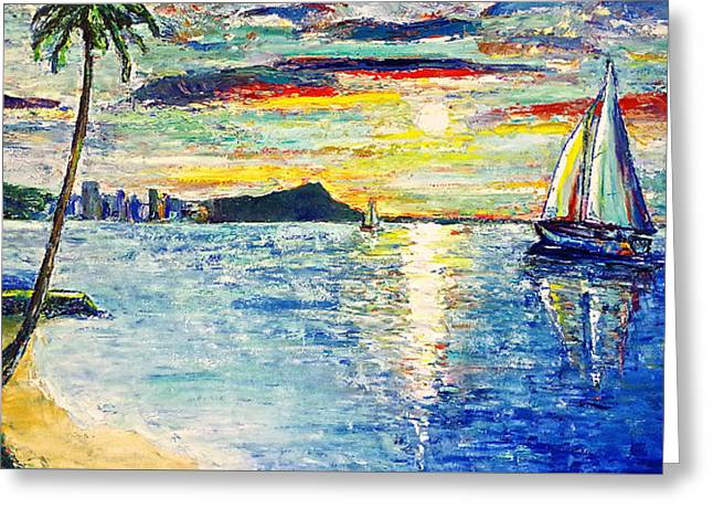 Ocean Sailing Greeting Cards - Hickam Beach Sunrise Greeting Card by Jo Gerrior