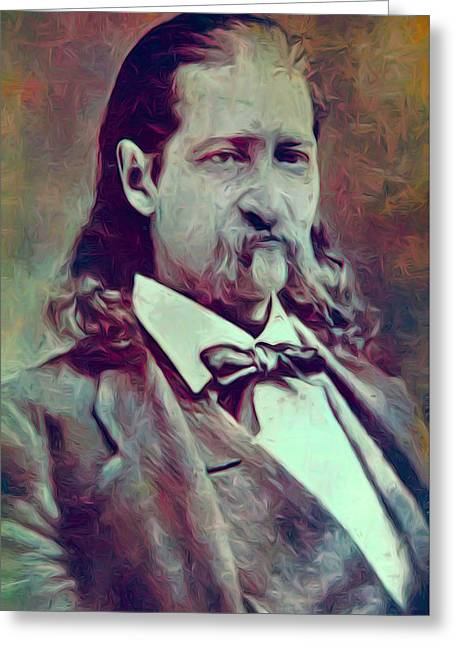 Shootist Greeting Cards - Hickok Painterly Greeting Card by Daniel Hagerman
