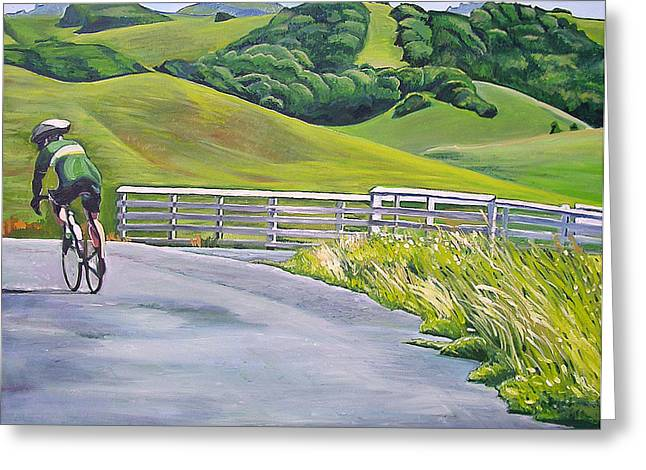 Marin County Greeting Cards - Hicks Valley Bike Ride Greeting Card by Colleen Proppe