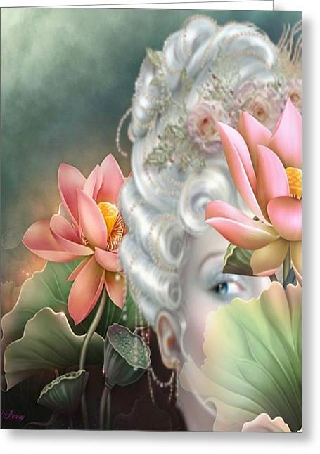 Floral Digital Drawings Greeting Cards - Hidden Among The Lotus Greeting Card by G Berry