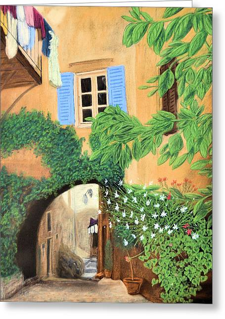 Cafe Pastels Greeting Cards - Hidden Cafe Greeting Card by Jan Amiss