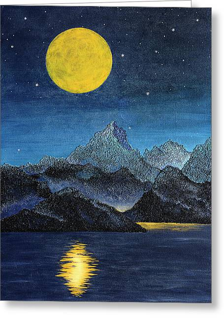 Hidden City - Mountain And Moon Landscape Greeting Card by Rayanda Arts