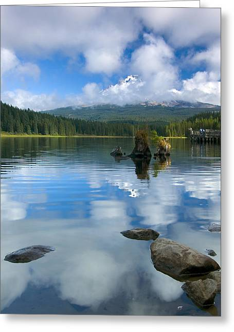 Mt Hood Greeting Cards - Hidden in Fleece Greeting Card by Mike  Dawson