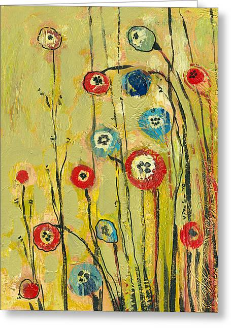 Green Modern Greeting Cards - Hidden Poppies Greeting Card by Jennifer Lommers