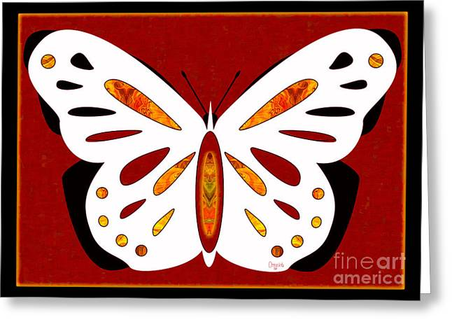 Green And Yellow Glass Greeting Cards - Hidden Possibilities And Abstract Butterflies by Omashte Greeting Card by Omaste Witkowski