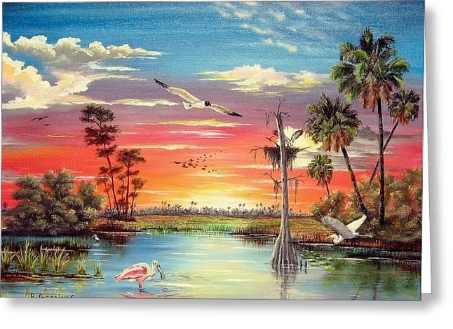 Osprey Florida Greeting Cards - Hidden Refuge Sunset Greeting Card by Riley Geddings