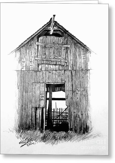 Old Barn Drawing Greeting Cards - Hide Out Greeting Card by William Kelsey