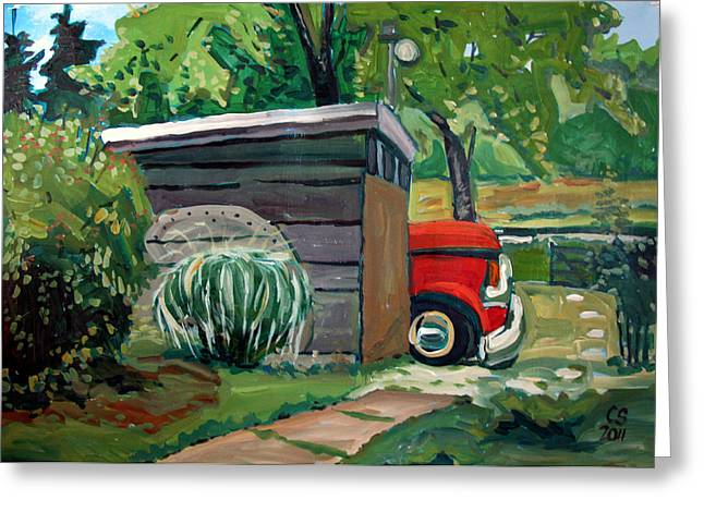 Dilapidated Paintings Greeting Cards - Hiding From The Junkyard Greeting Card by Charlie Spear