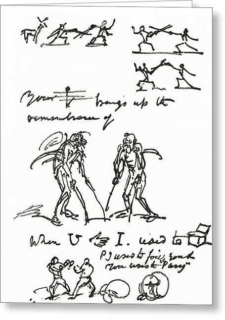 Cruikshank Greeting Cards - Hieroglyphic Letter Written By George Greeting Card by Ken Welsh