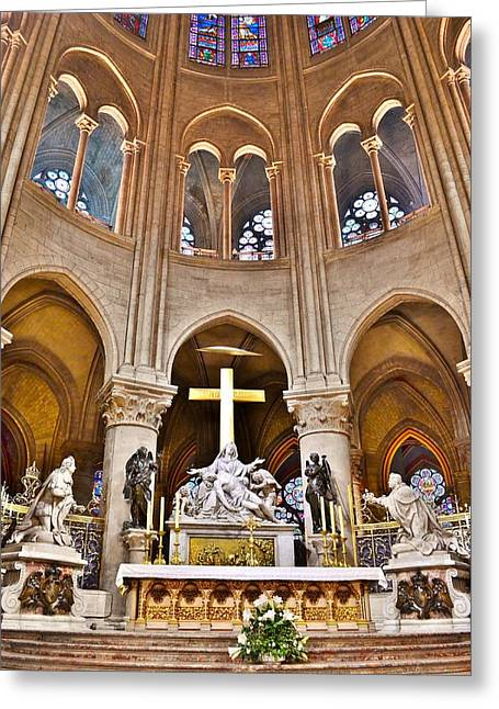 Christian Greeting Cards - High Alter Notre Dame Cathedral Paris France Greeting Card by Kim Bemis