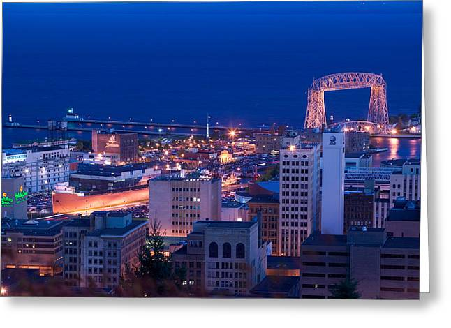 High Angle View Of A City, Canal Park Greeting Card by Panoramic Images