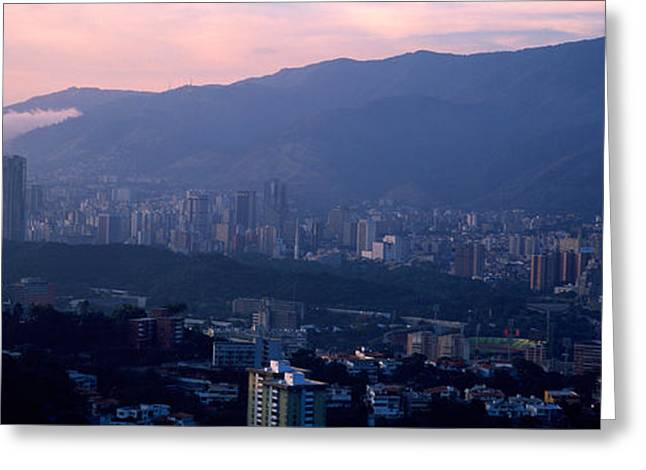 Venezuela Greeting Cards - High Angle View Of A City, Caracas Greeting Card by Panoramic Images